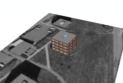 The building, in Google Sketchup, with Google Earth terrain